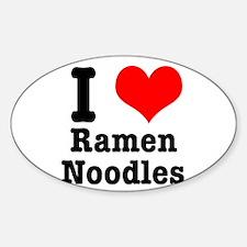 I Heart (Love) Ramen Noodles Oval Decal