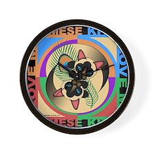 Siamese Kitty Cat Graphics Wall Clock