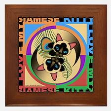 Siamese Kitty Cat Graphics Framed Tile