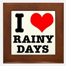 I Heart (Love) Rainy Days Framed Tile