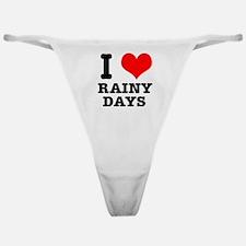 I Heart (Love) Rainy Days Classic Thong