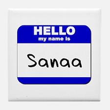 hello my name is sanaa  Tile Coaster