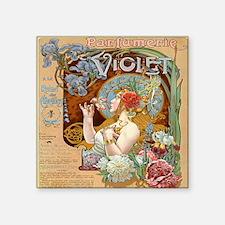 "Vintage Paris Violet Perfum Square Sticker 3"" x 3"""