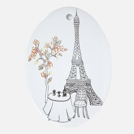 Eiffel Tower with Table and Blossom  Oval Ornament