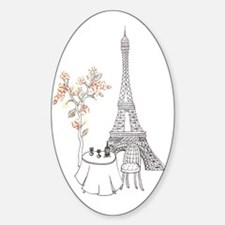 Eiffel Tower with Table and Blossom Sticker (Oval)