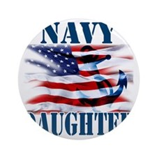 Navy Daughter Round Ornament