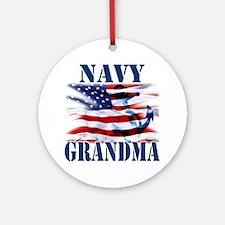 Navy Grandma Round Ornament