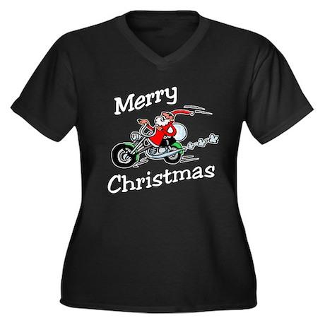 Motorcycle Santa Women's Plus Size V-Neck Dark T-S