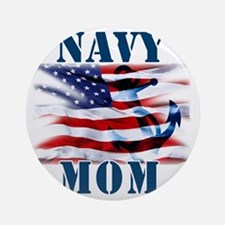 Navy Mom Round Ornament