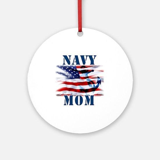 Navy Mom Round Ornament