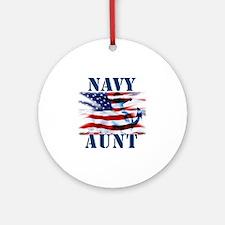 Navy Aunt Round Ornament