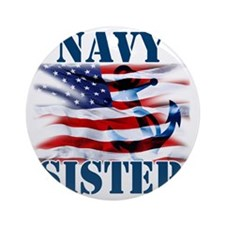 Navy Sister Round Ornament