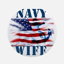 Navy Wife Round Ornament