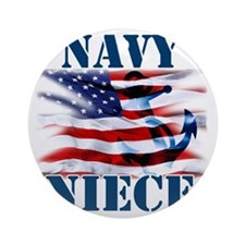 Navy Niece Round Ornament