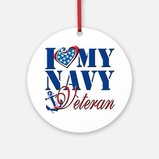 I Love My Navy Veteran Round Ornament