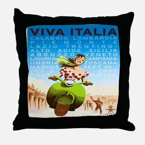 Vintage Viva Italia Poster Throw Pillow