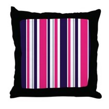 Purple Pink Gray Stripes Throw Pillow