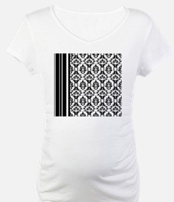 Damask Black  White Stripes Shirt