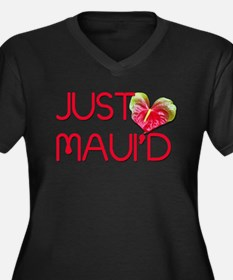 Just Maui'd Women's Plus Size V-Neck Dark T-Shirt
