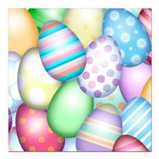 "Decorated Eggs Square Car Magnet 3"" x 3"""