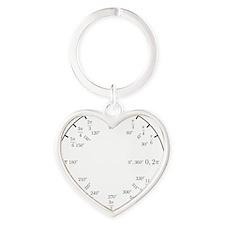 Math Clock (trig v2)(L) Heart Keychain
