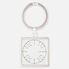 Math Clock (trig v2)(L) Square Keychain