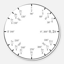 Math Clock (trig v2)(L) Round Car Magnet