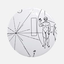 Pioneer Plaque Black Round Ornament