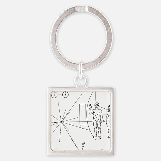 Pioneer Plaque Black Square Keychain