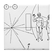 Pioneer Plaque Black Tile Coaster