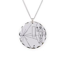 Pioneer Plaque Black Necklace Circle Charm