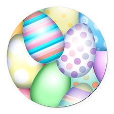 Decorated Eggs Round Car Magnet