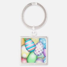 Decorated Eggs Square Keychain