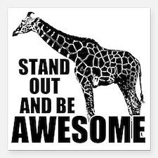 "Awesome Giraffe Square Car Magnet 3"" x 3"""