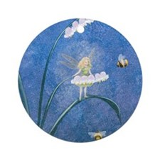 StephanieAM Bee Fairy Round Ornament