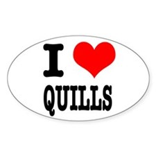 I Heart (Love) Quills Oval Decal