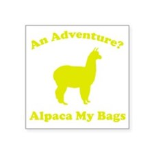 "adventureAlpaca1D Square Sticker 3"" x 3"""