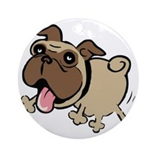 Leaping Pug Round Ornament