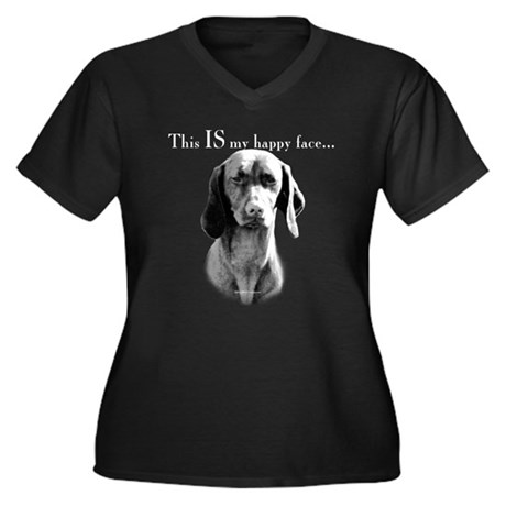 Vizsla Happy Face Women's Plus Size V-Neck Dark T-