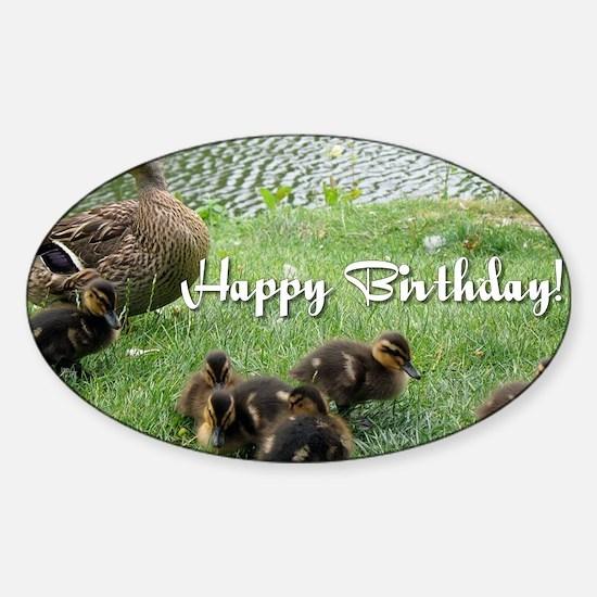 Happy Birthday Ducks Sticker (Oval)