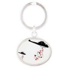 Make Love Not War Oval Keychain