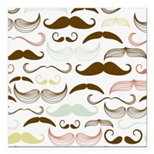"Mustache Pattern Square Car Magnet 3"" x 3"""