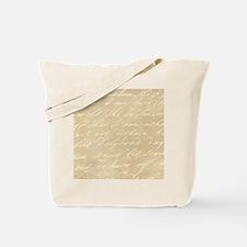 Cream Script Tote Bag
