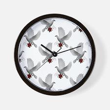 doves white Wall Clock