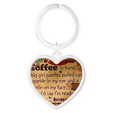 Coffee Love Heart Keychain