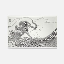 Great Wave Tangle Rectangle Magnet