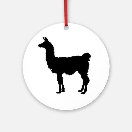 Llama Silhouette Round Ornament