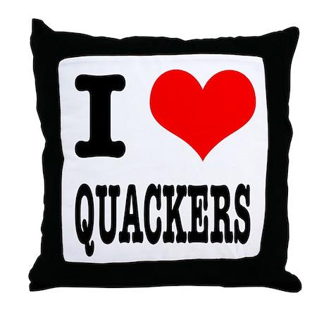 I Heart (Love) Quackers Throw Pillow