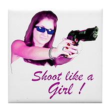 Shoot Like A Girl Tile Coaster