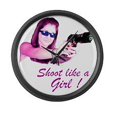 Shoot Like A Girl Large Wall Clock